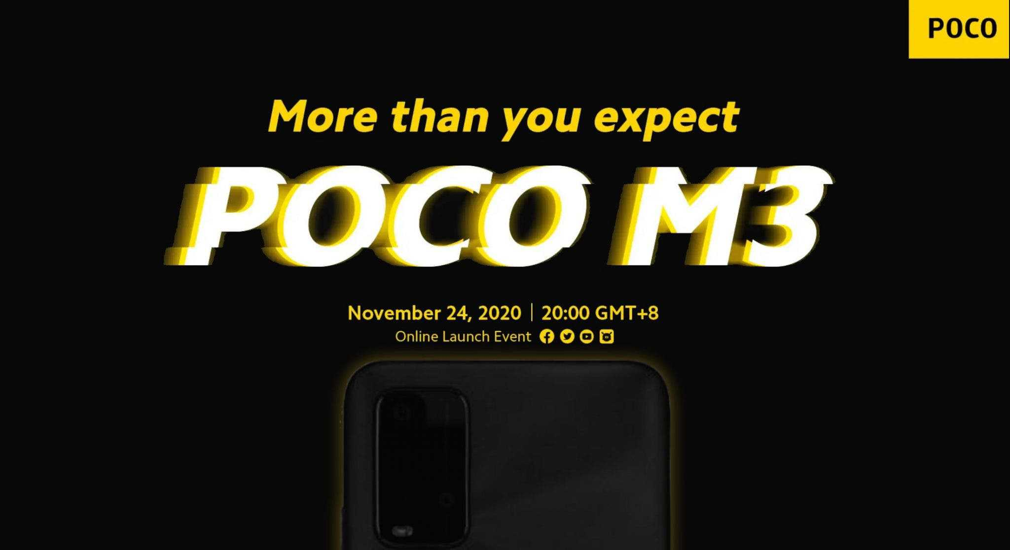 POCO M3 leaked rendering image, technical specifications